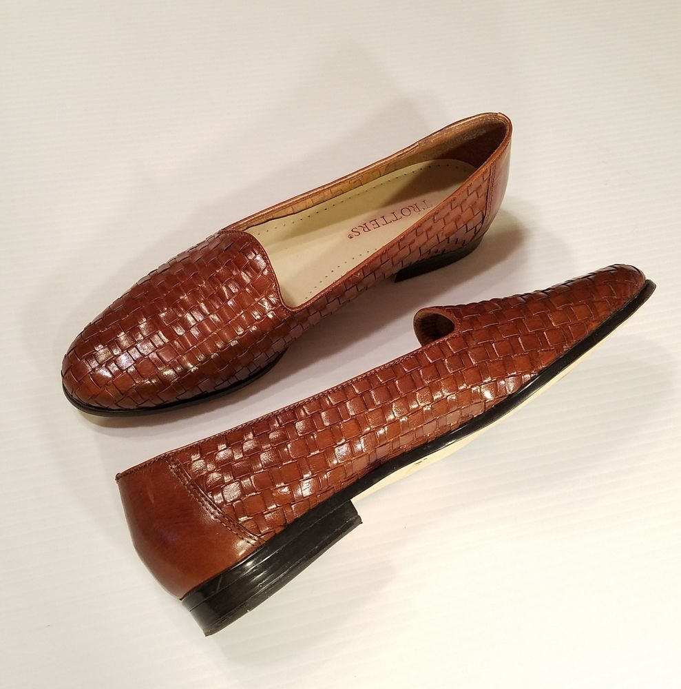 fdf335f23f91a Trotters Womens Liz Brown Leather Woven Slip On Loafers Flats Size ...
