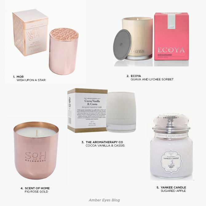 Monday Must-Haves soy candles Amber Eyes Blog Carly Hitchcock MOR, YANKEE CANDLES, AROMATHERAPY CO, SCENT OF HOME, ECOYA
