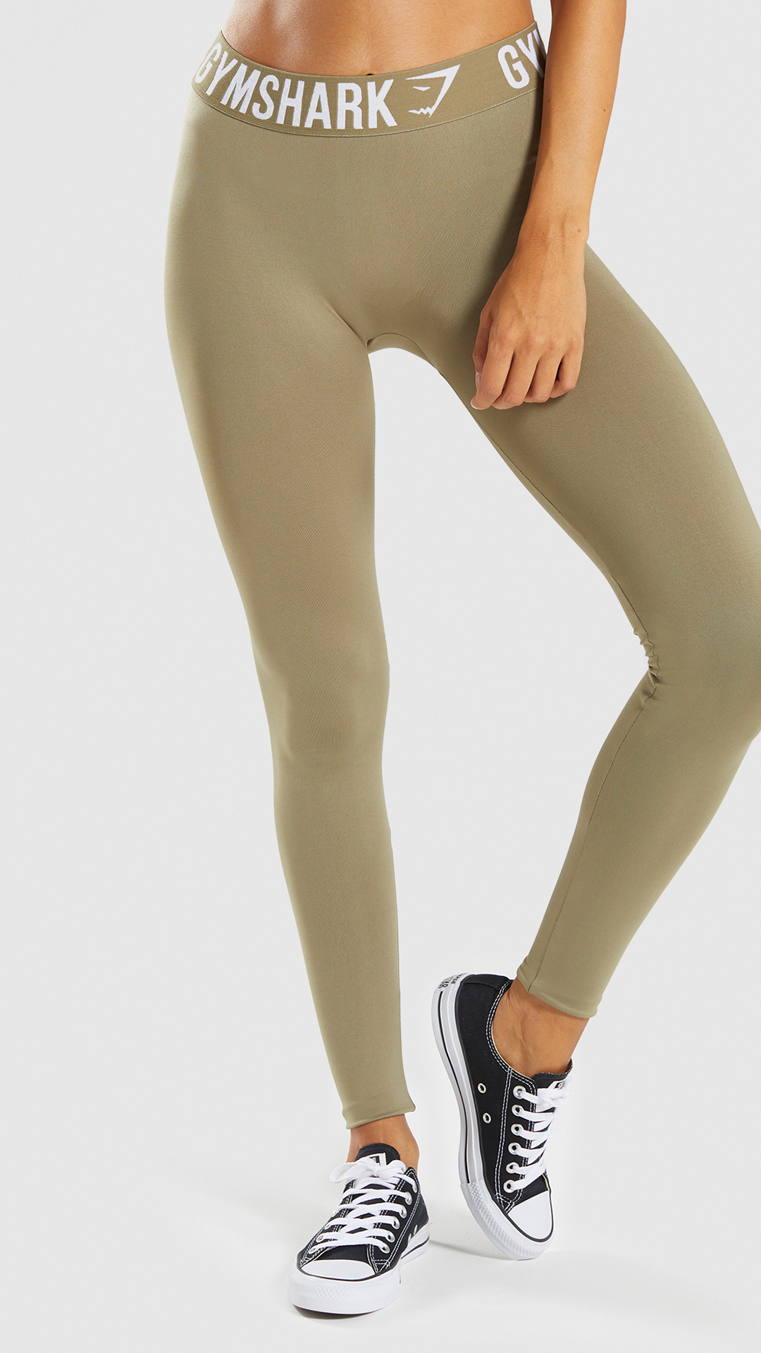 e00ca79faf8ba The Fit Legging, Washed Khaki/ White. These Gymshark Leggings are your new  favourite leggings. #Gymshark #Womens #Fitness #Workout #Comfy