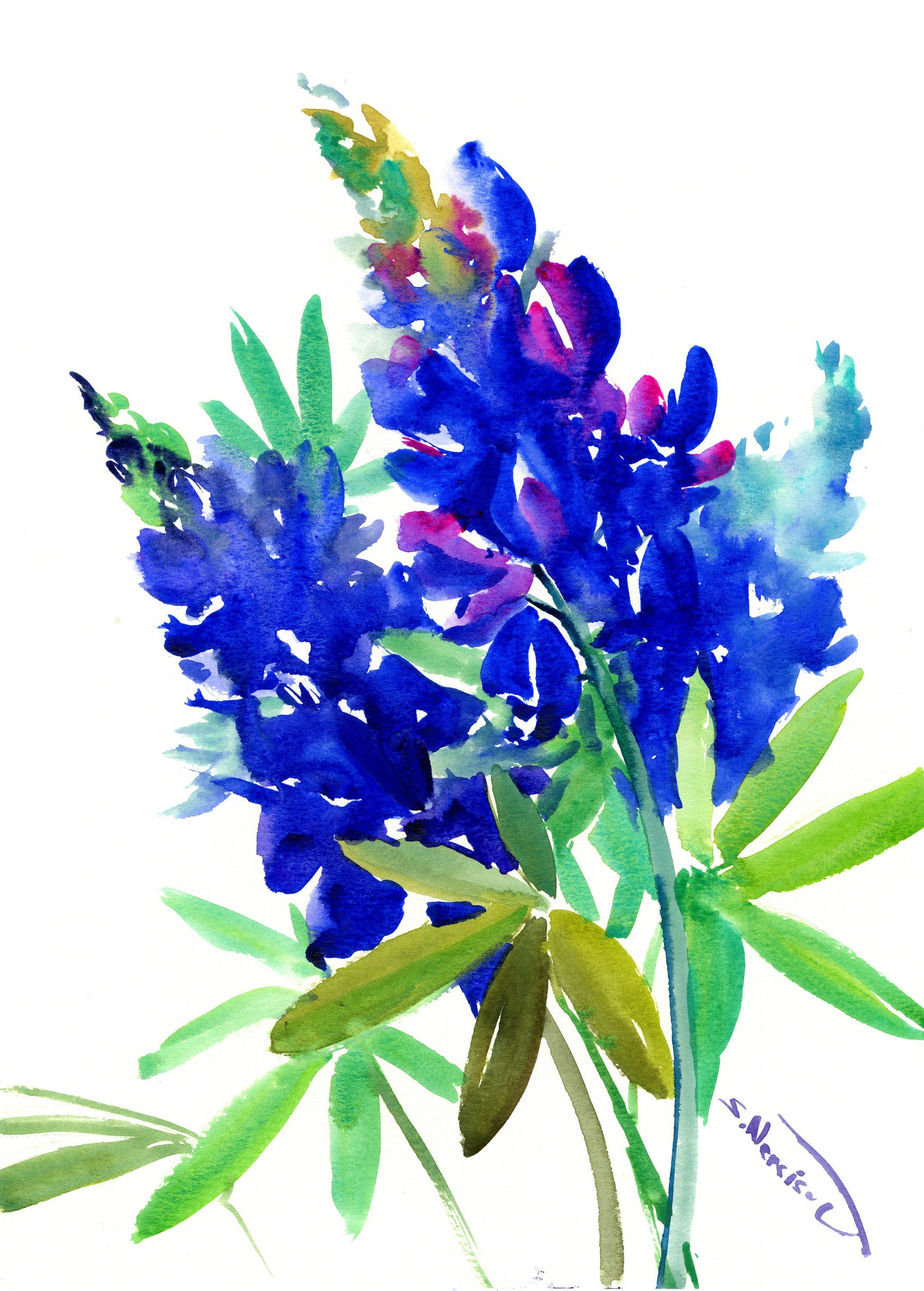 Texas Bluebonnet Flowers Art Painting Blue Flowers Original Watercolor By Originalonly On Etsy Flower Art Painting Blue Bonnets Flower Art