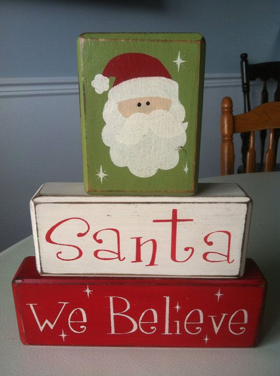 Santa We Believe Christmas Holiday Stacking Wood Blocks Distressed  Primitive Rustic Xmas Decorations Ready To Ship