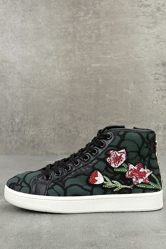 1c83d7740c41 Make a stunning statement in the Steve Madden Allie Green Multi Embroidered  High-Top Sneakers! Black embroidery creates a floral design over these green  ...