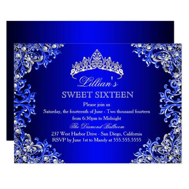 Blue Damask Tiara Sweet 16 Invitation | Zazzle.com