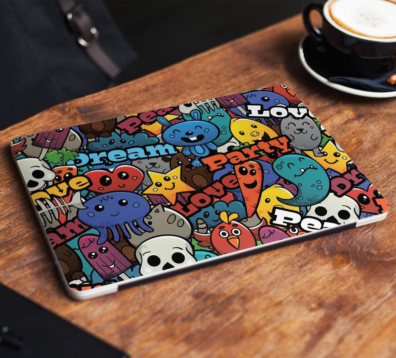Cartoons Laptop Skin Sticker Cute Notebook Vinyl Decal Dell Hp Etsy Custom Laptop Stickers Laptop Skin Laptop Decal