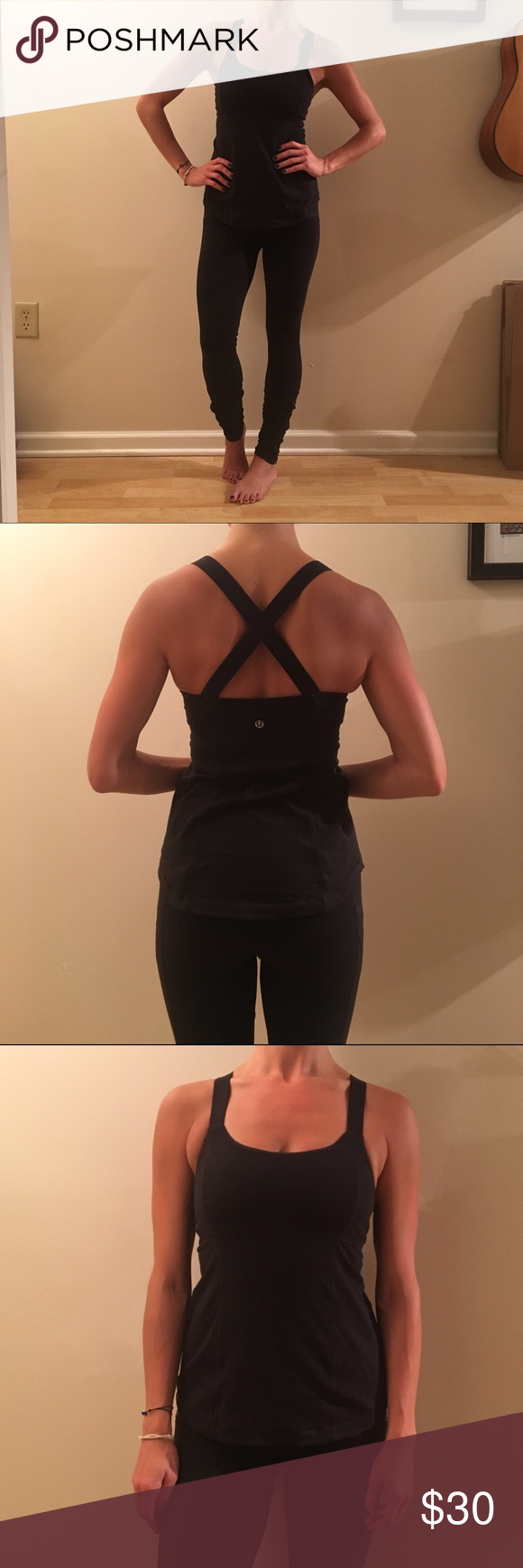 Lululemon Black X-Strap Tank Black Lululemon tank with elastic criss-cross straps lululemon athletica Tops Tank Tops