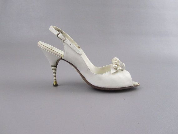 Vintage 1950s Shoes 50s Wedding P Toe