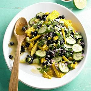 Corn and Blueberry Salad: This inventive salad features fresh sweet corn, blueberries, cucumber, and jalapeno.
