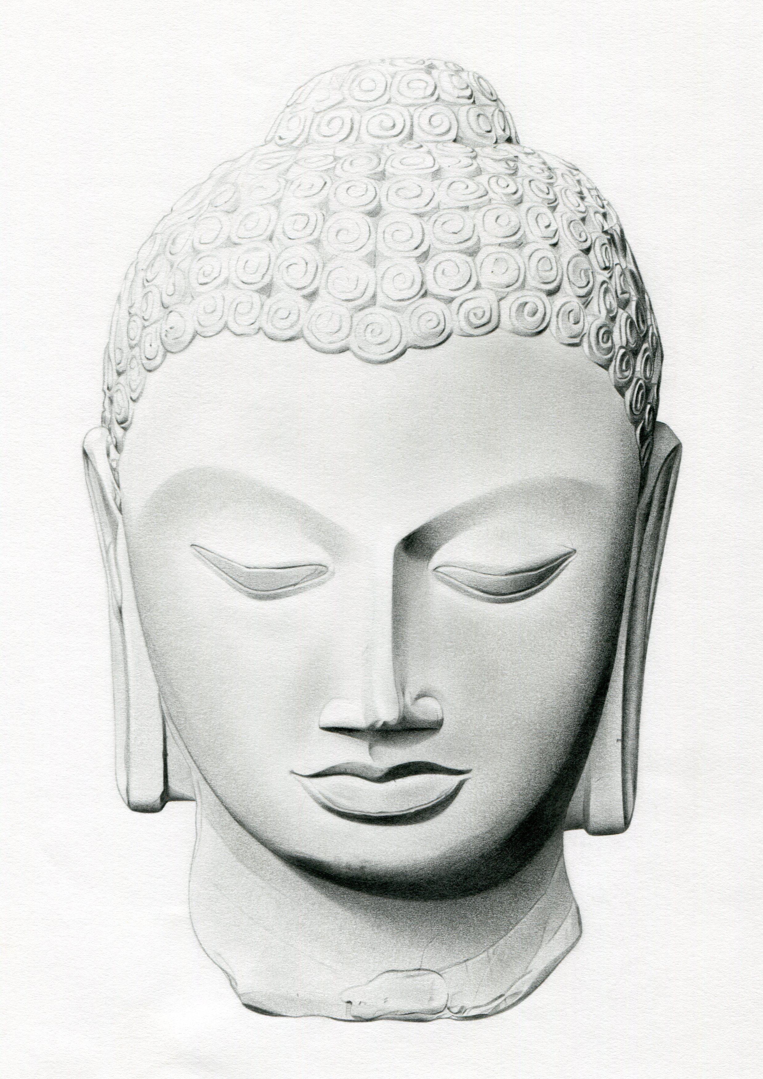 The buddha pencil drawing of a buddha head statue
