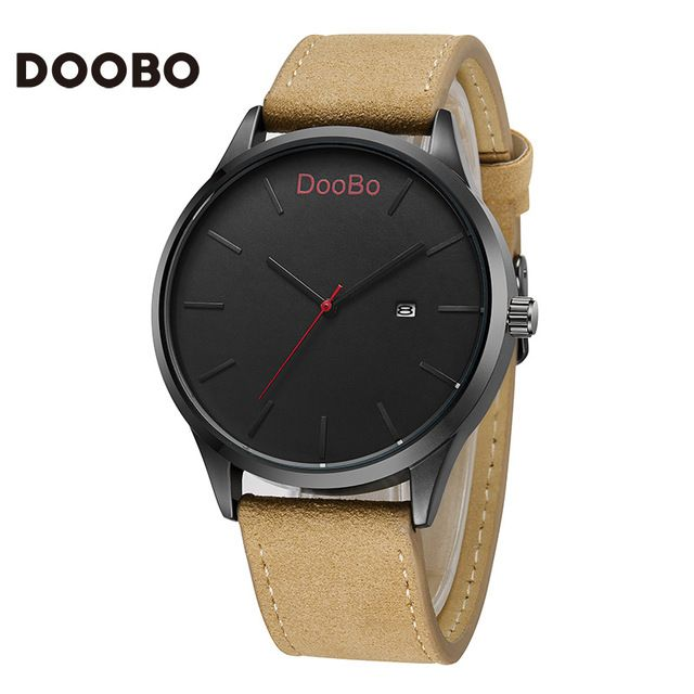 40fa648235c 2016 DOOBO Moda Casual Mens Relógios Top Marca de Luxo de Quartzo-Relógio  Dos Homens de Negócios de Couro relógio de Pulso Relogio masculino