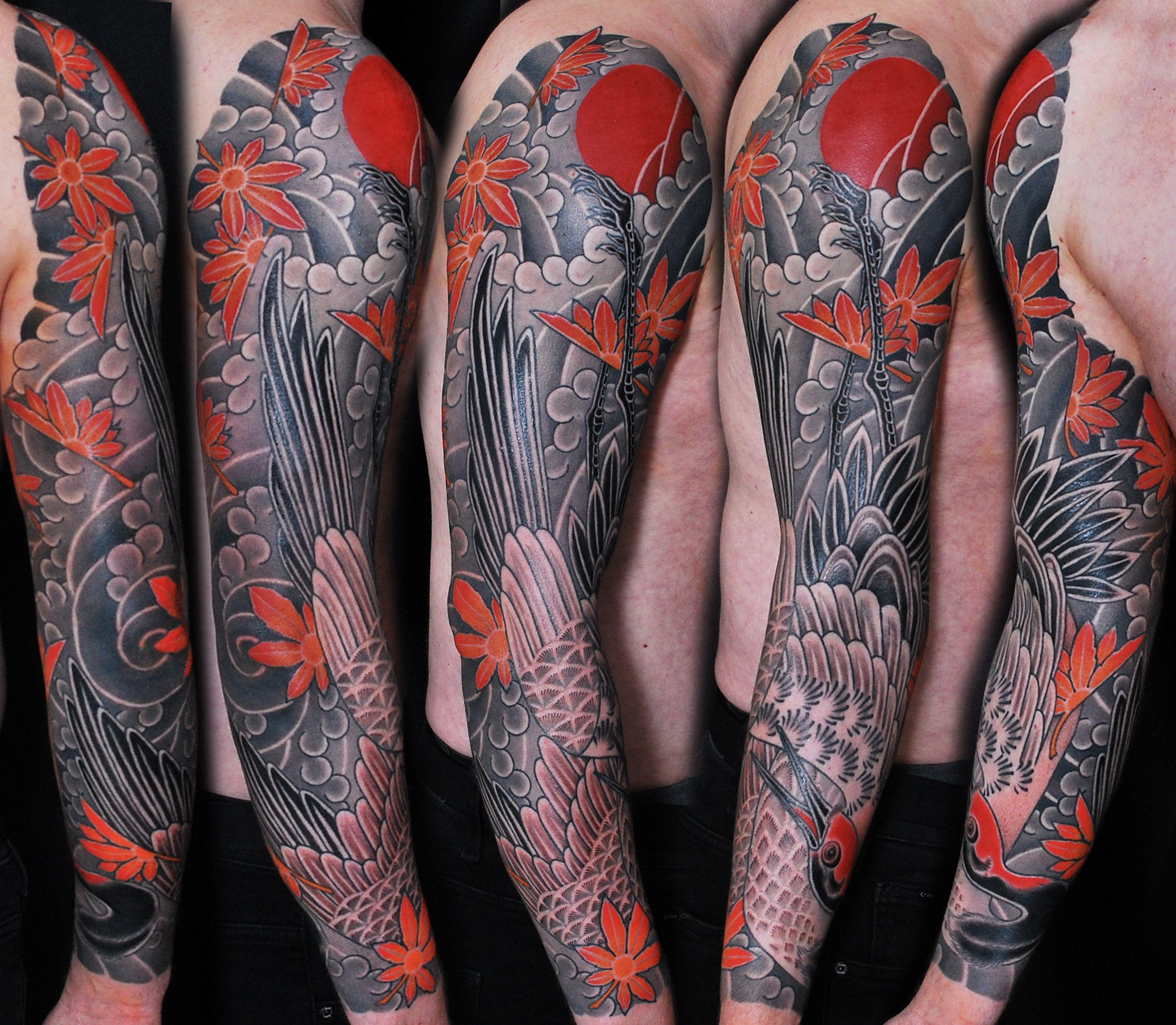 Japanese Full Sleeve Tattoo Artist Uldis Paulins Japanese Tattoo Traditional Fullsleeve Bird Crane Traditional Tattoo Sleeve Tattoos Full Sleeve Tattoo