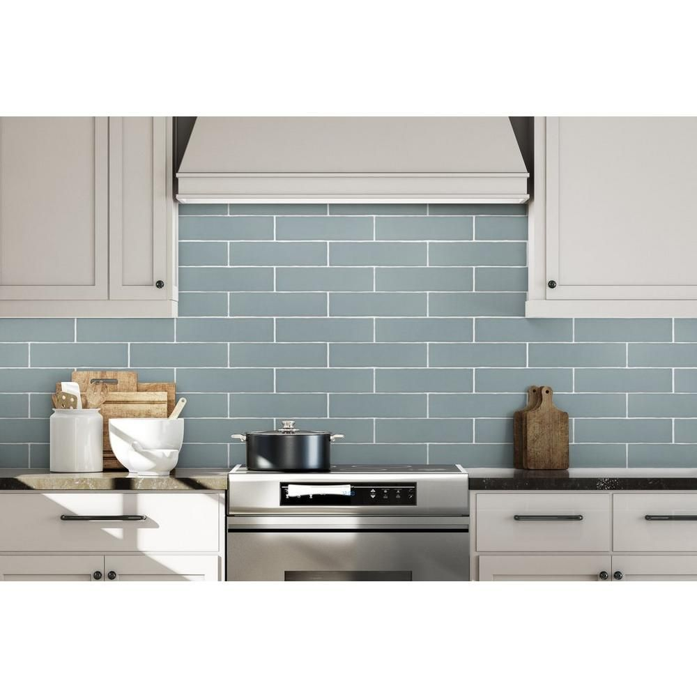 kitchen backsplash. villa artisan sky porcelain tile - 3in. x 12in