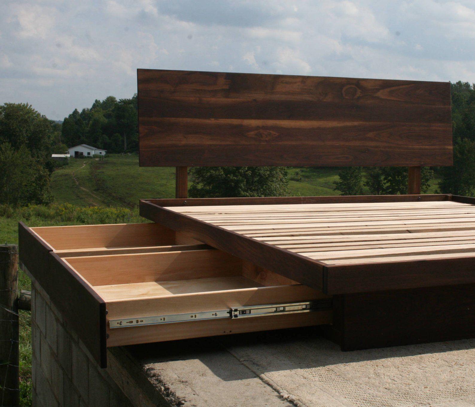 NdFvS01 Solid Hardwood Cantilever Platform Bed with 4