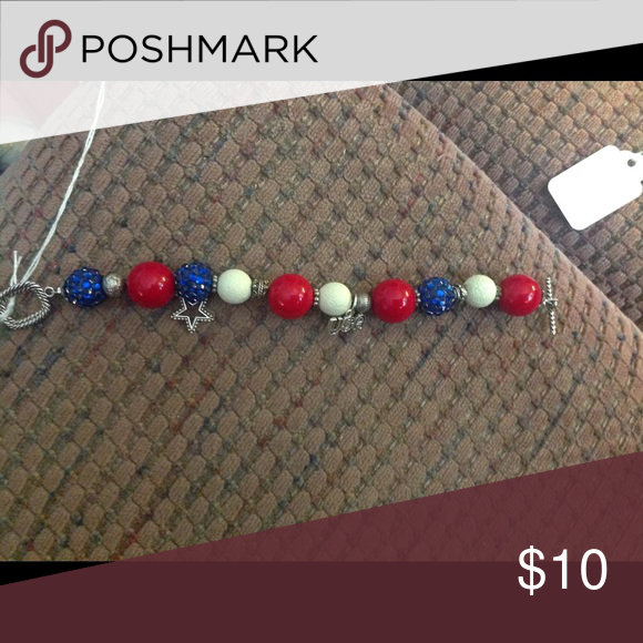 Red white and blue charm bracelet Red white and blue charm bracelet. Perfect for 4th of July Jewelry Bracelets
