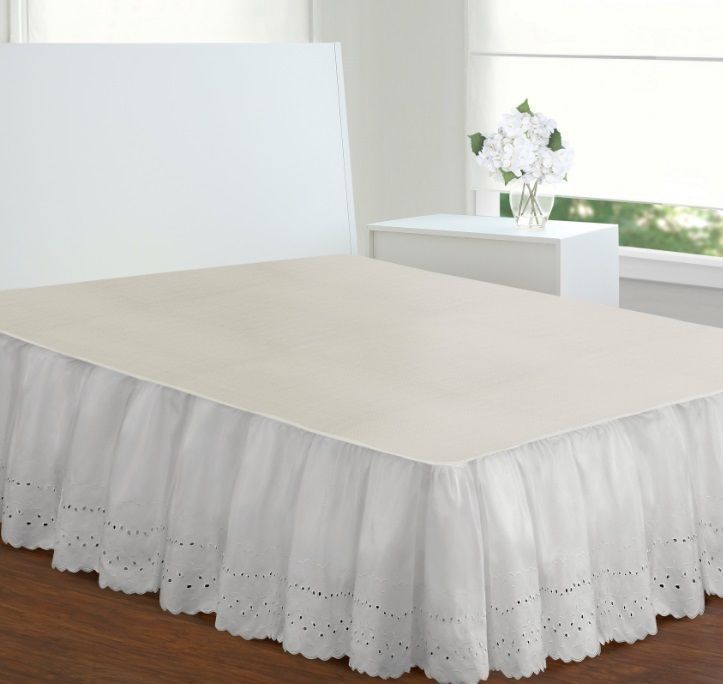 Extra Long White Bed Skirt Queen Size 18 Inch Drop Eyelet Poplin
