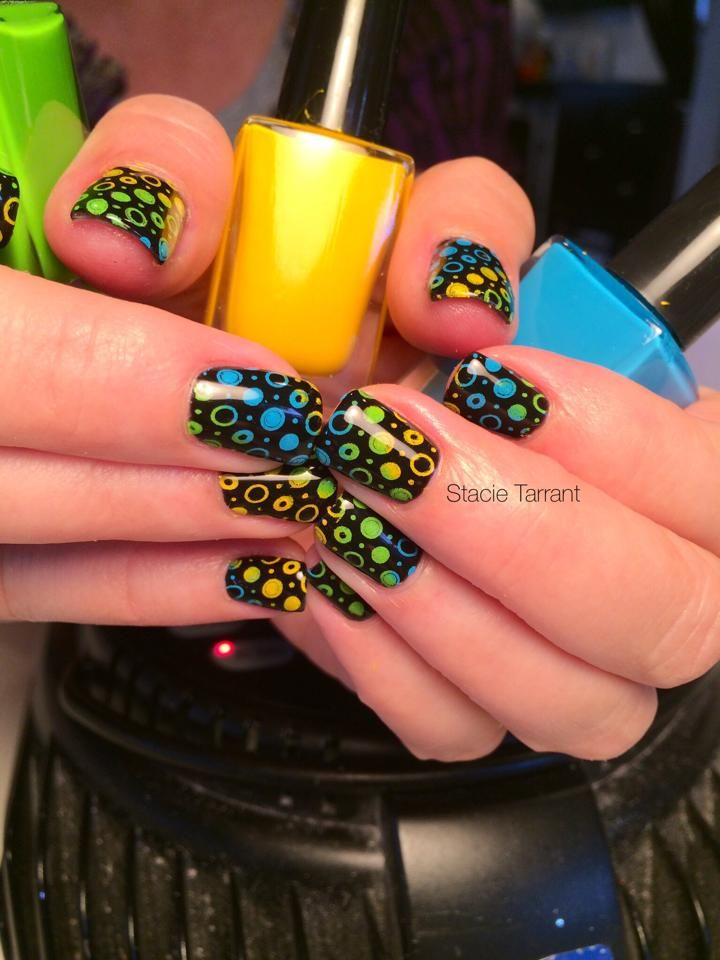 Young Nails black gel polish ; various MDU stamping polish ; Messy ...