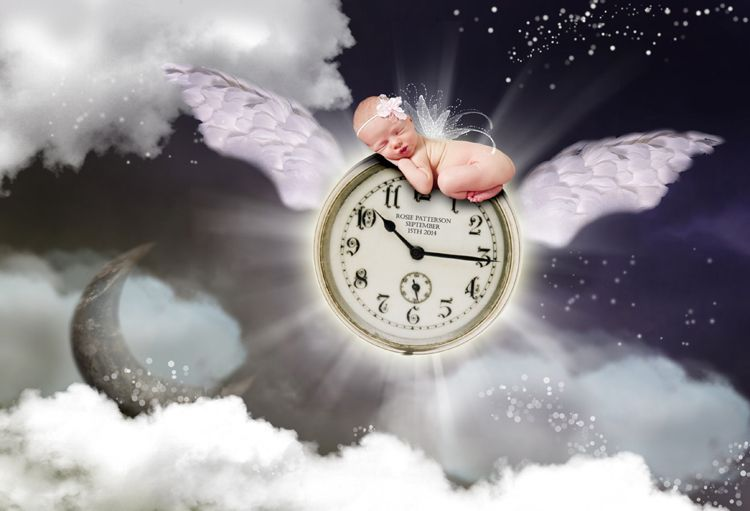 Time Flies personalised fantasy photo new baby gift