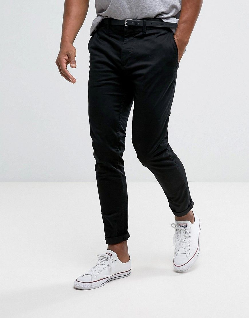 8e9d9dc358ab1 Pull&Bear Skinny Chinos With Belt In Black | college outfits ...