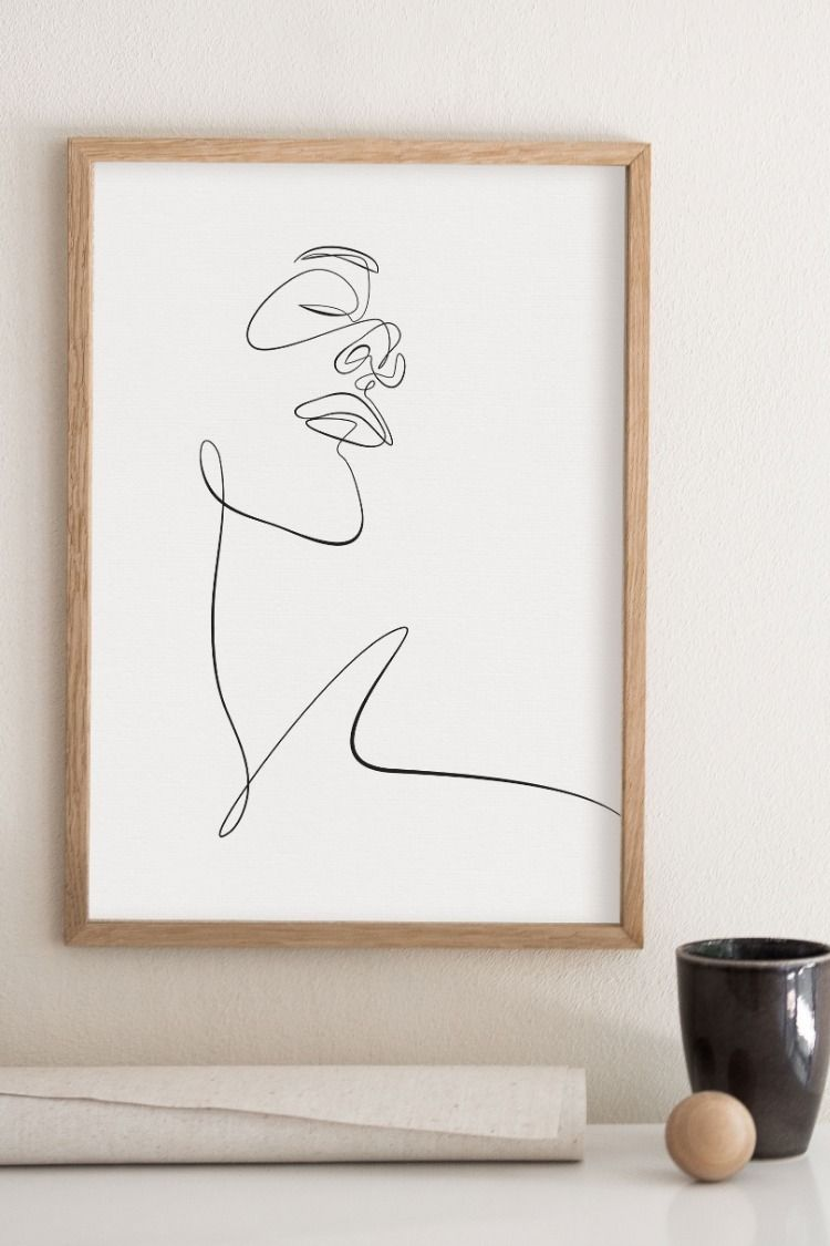 Minimalism Face Sketch Print Printable One Line Drawing Simple Single Line Face Artwork Minimal Woman Face Wall Art Scandinavian Decor Illustration Wall Art Illustration Wall Minimal Drawings