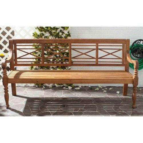 Safavieh Karoo Outdoor Bench Beige Wooden Garden