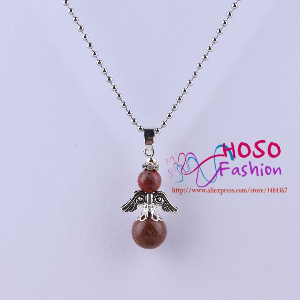 Fashion jewelry natural stone angle pendant necklaces silver plated