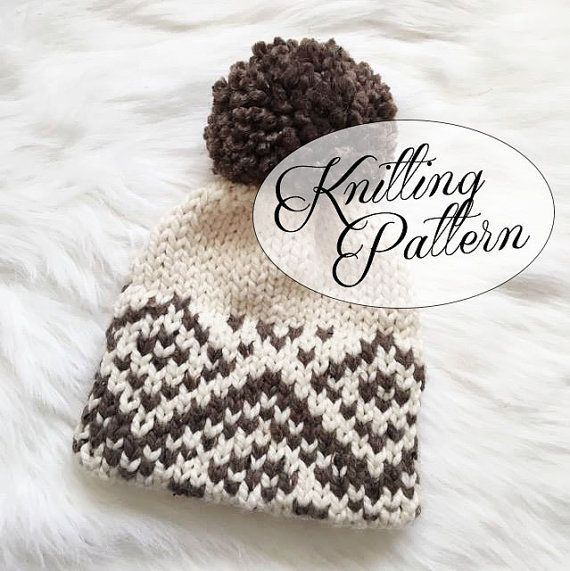 Knit Hat Pattern Knitted Fair Isle Double Brim Tuque - Brown White ... 73ffaef6191