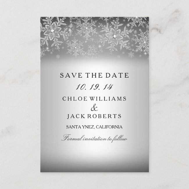 Crystal Snowflake Silver Winter Save The Date    Crystal Snowflake Silver Winter Save The Date