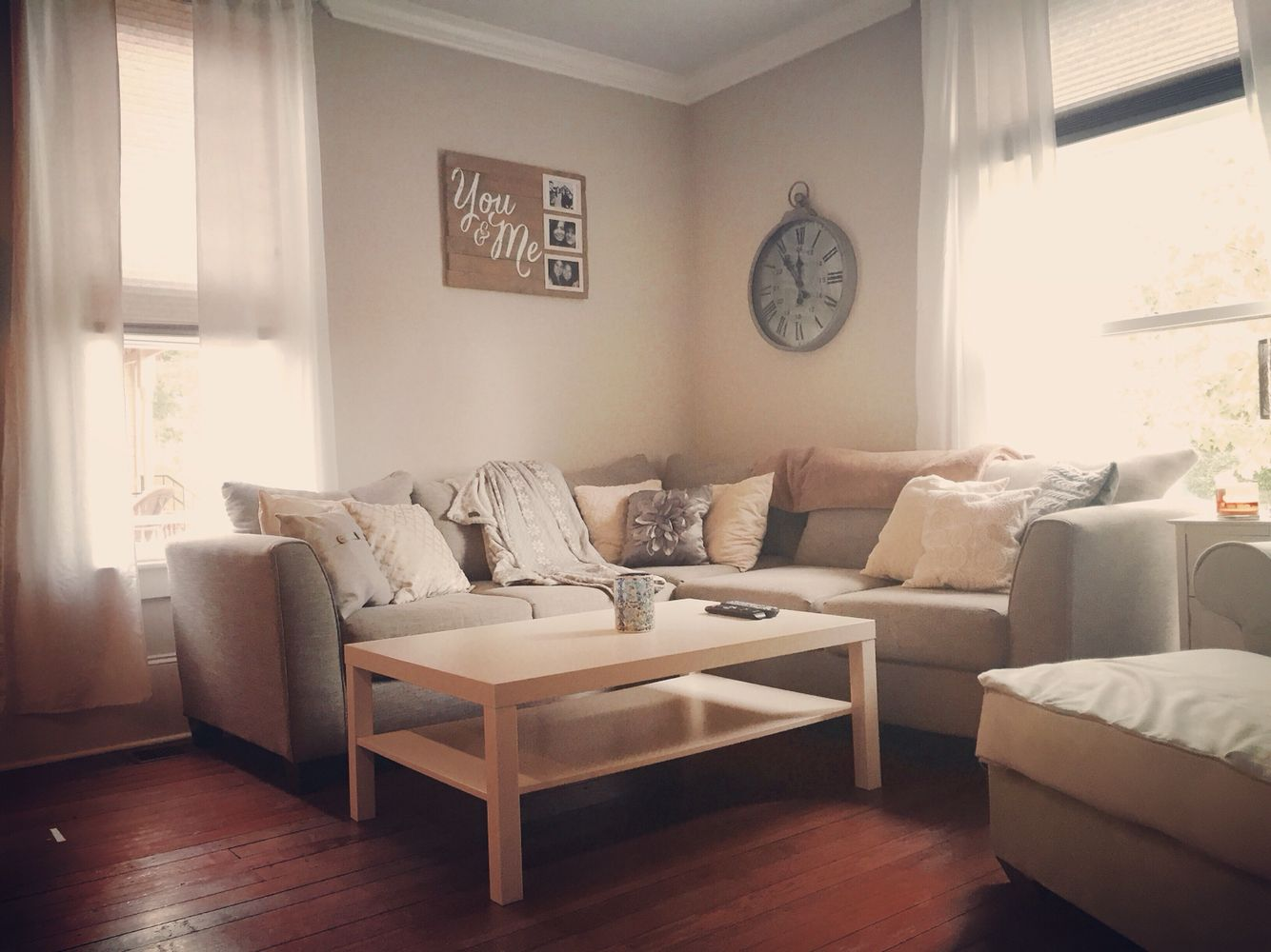 My living room. White and gray, rustic, cozy, large ...