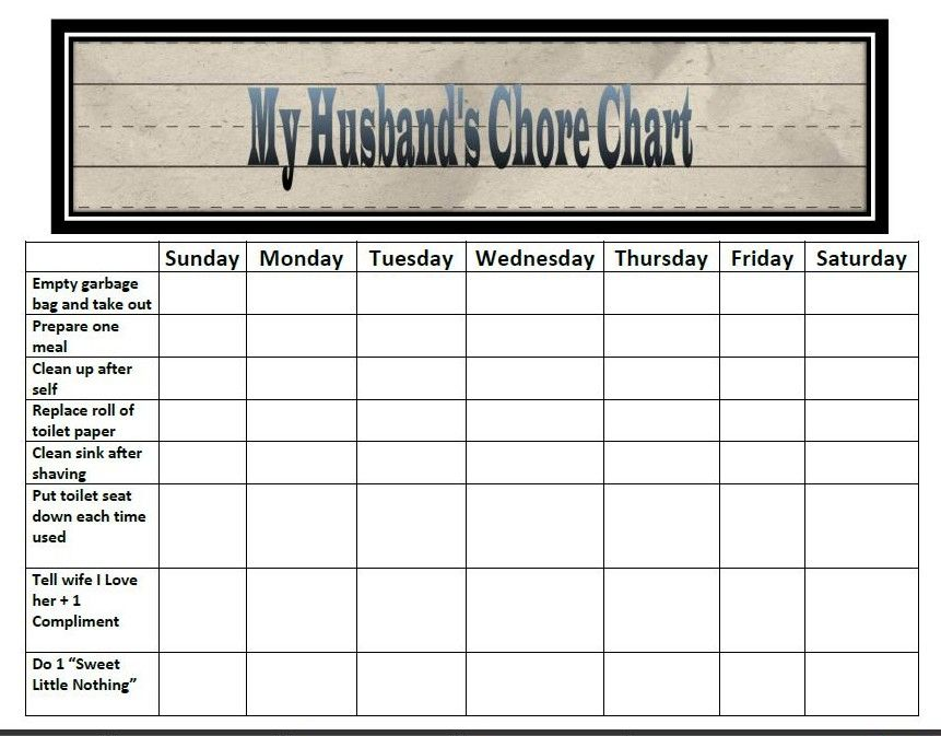 chore charts for multiple children classified mom wordless wednesday husband 39 s chore chart. Black Bedroom Furniture Sets. Home Design Ideas
