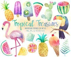 Tropical Clip Art - Watercolor Summer Clipart Set, Vector Clipart, Beach Clipart, Flamingo Clipart, Pineapple Clipart, & More
