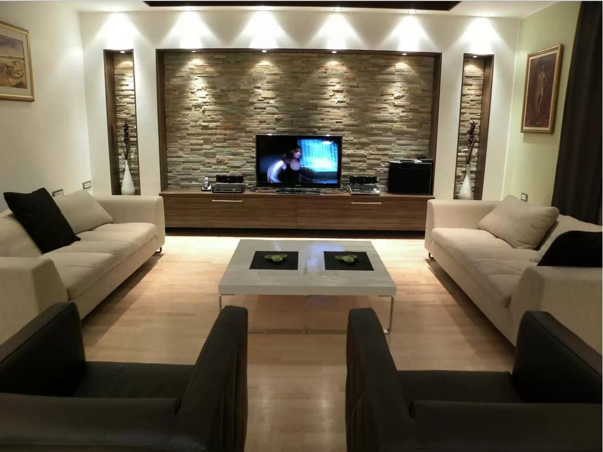 Examples of decorative stone hallway, living room - 30 photos