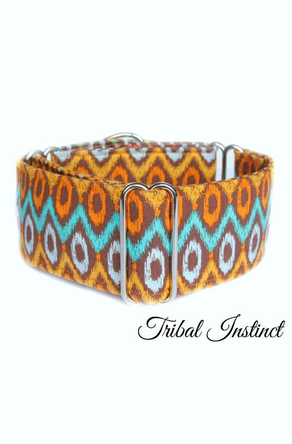 Aztec Martingale Dog Collar Tribal Dog Collar Orange And