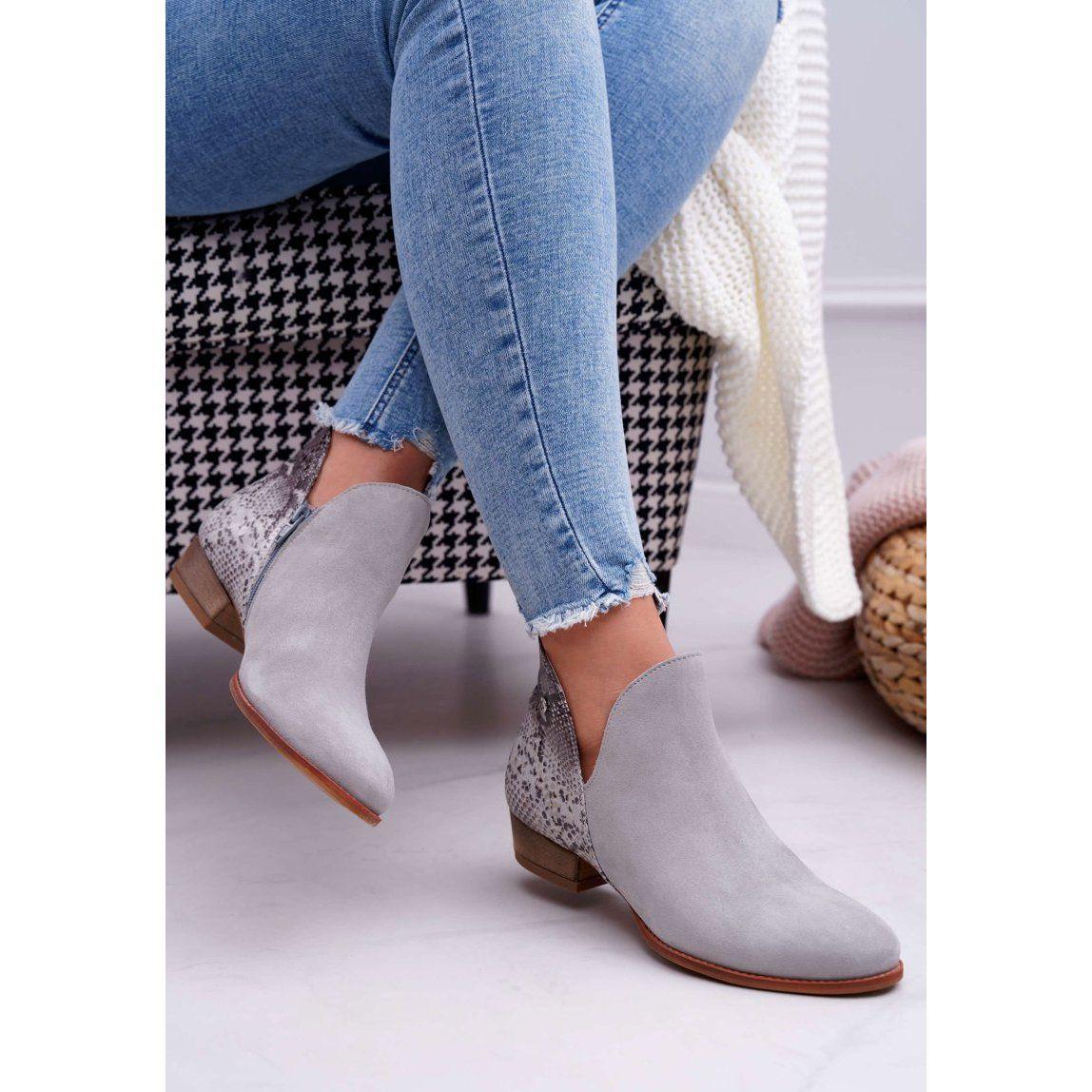 Botki Damskie Plaskie Maciejka Skorzane Szare 04091 03 00 5 Boots Ankle Boot Heeled Mules