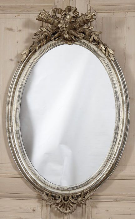 Antique French Louis XVI Oval Mirror | Gilded Mirrors | Inessa Stewart's Antiques