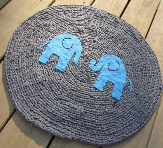 Ooak Upcycled Crochet Round T Shirt Rug Elephant Nursery Made To Order On Etsy 50 00
