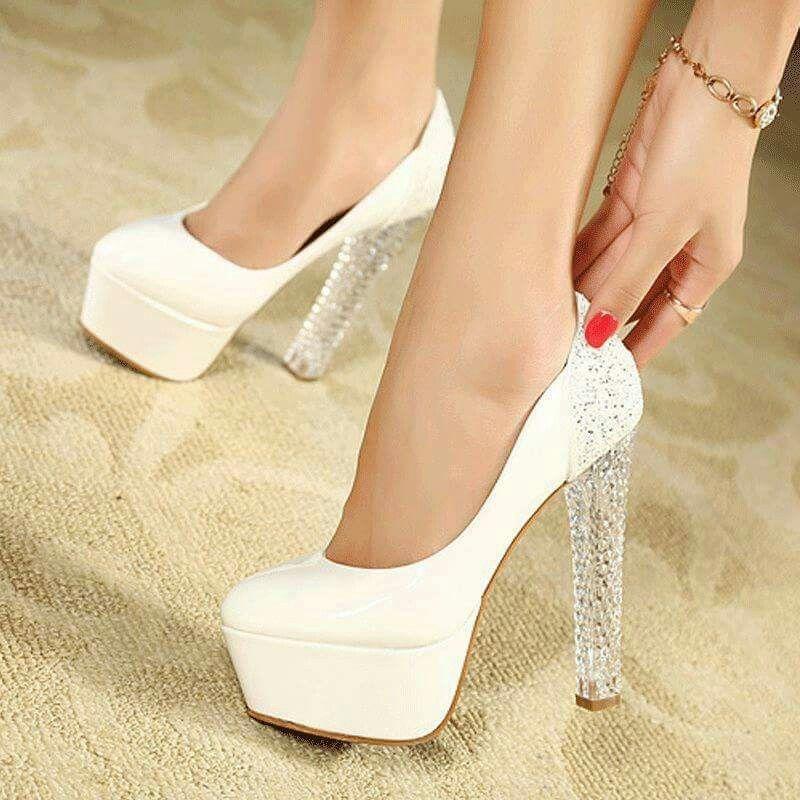 87f3b79f7c5 Women White Glitter Crystal High Heel Platform Stiletto Pump Wedding Shoes  US 5 in Clothing