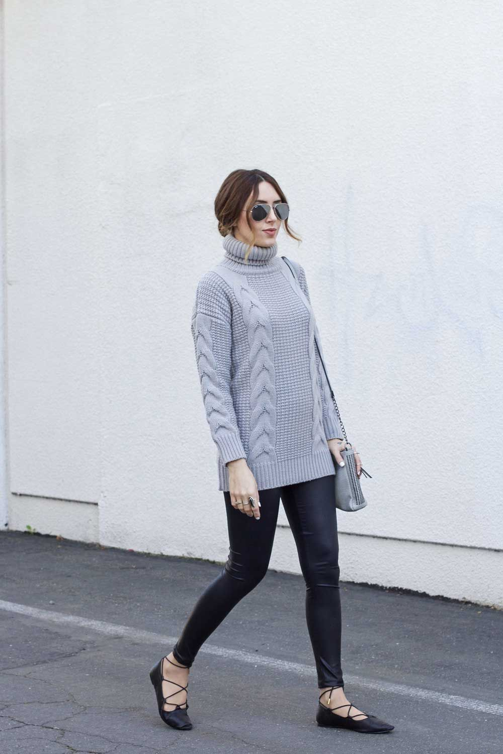 grey turtleneck sweater, leather leggings, lace-up flats ...