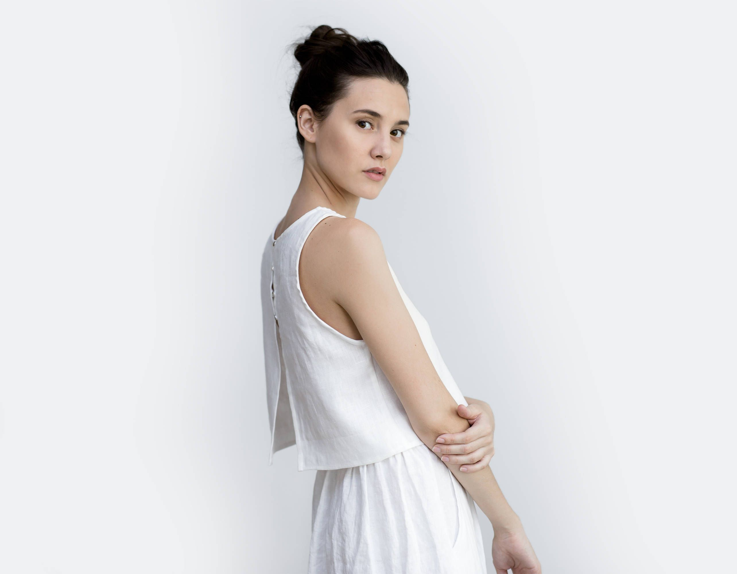 Tank top wedding dresses  Linen crop top  linen tank top  bridal separates top Loose linen