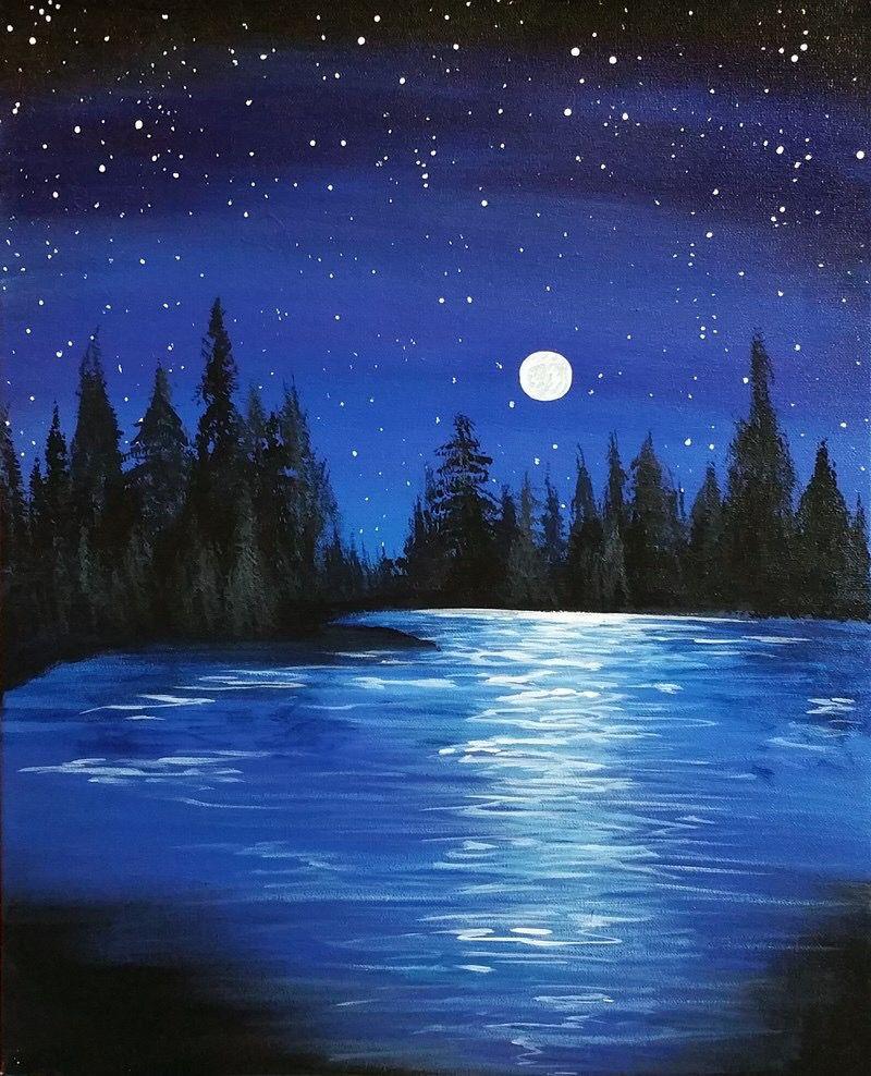 Paint Nite Beginner Painting Night Painting Landscape Paintings Acrylic