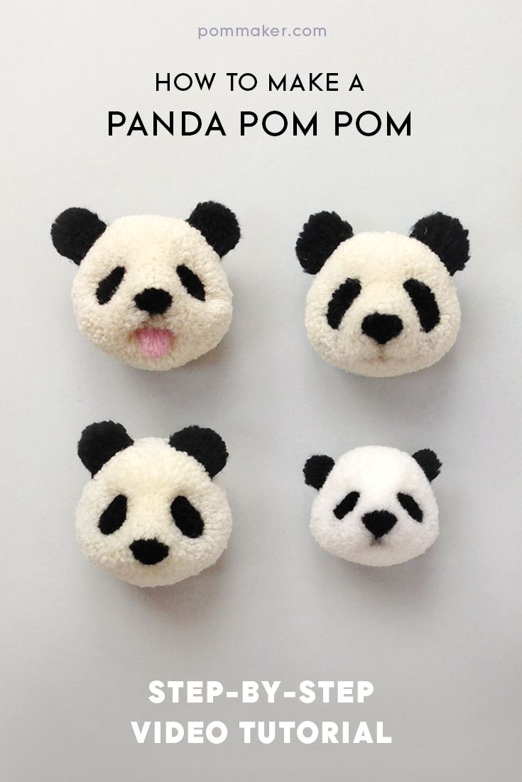 How to make a panda pompom | Animales, Pompones y Lana