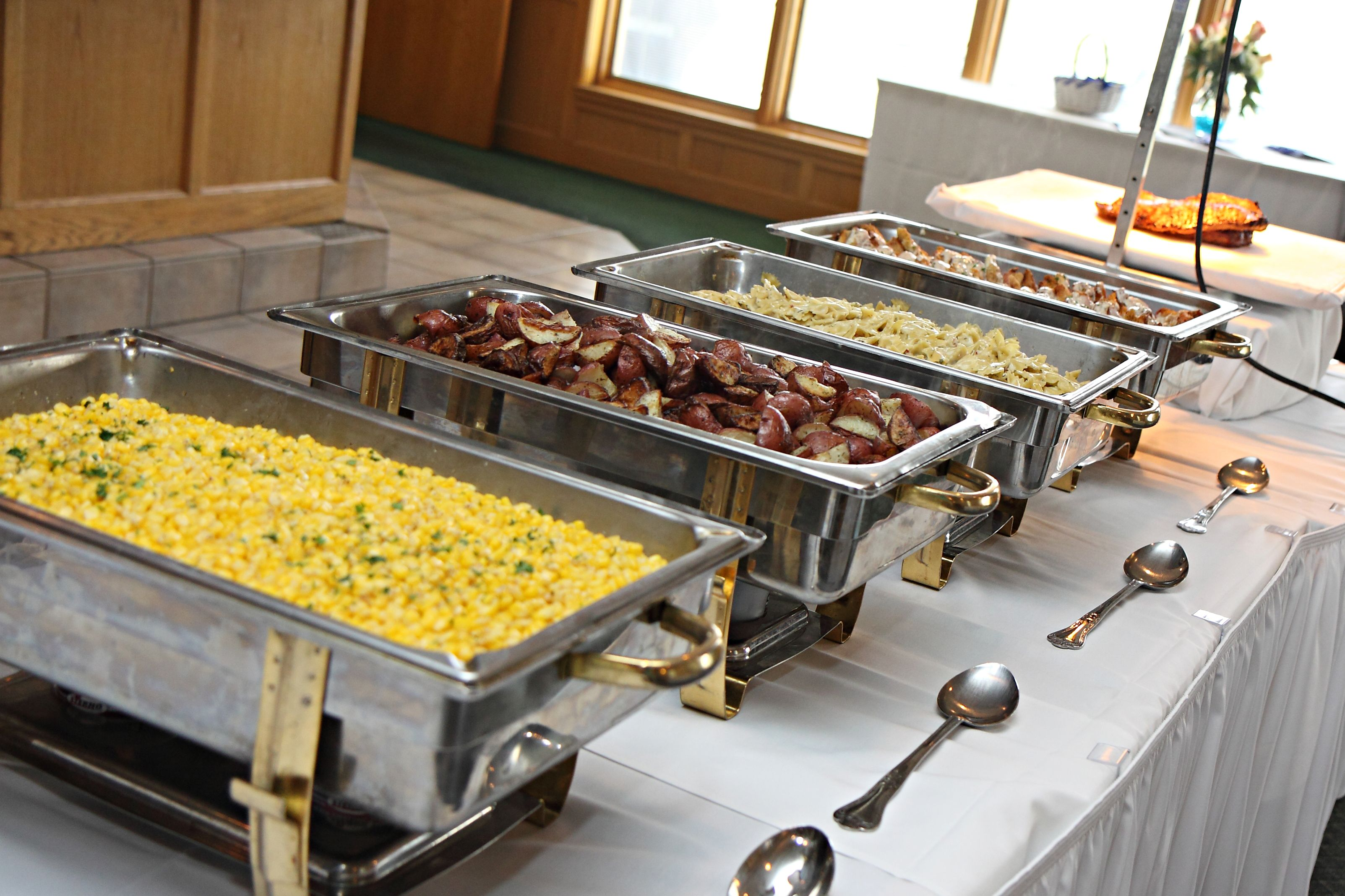 Buffet style dinner for a wedding reception at Stone Ridge Golf Club.  Credit: LB Photography.   Buffet style dinner, Styling a buffet, Reception  food