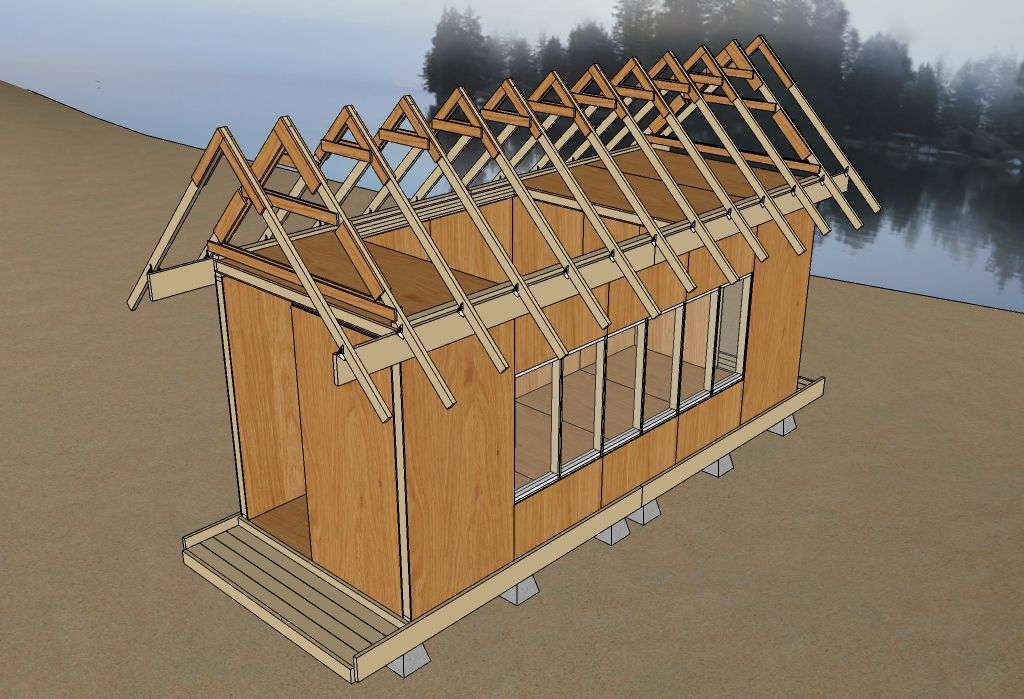 Uncut tiny house v3 25 roof trusses tiny home exterior for Buy roof trusses