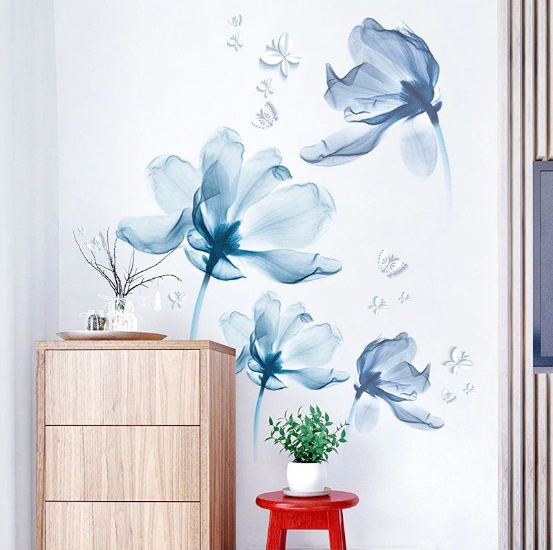 Wall Decal Room Wall Sticker Lotus Flowers Wall Decals Flower Plants Wall Decal Modern Home Decor Wall Art Artistic Flowers Wall Sticker In 2020 Glass Shower Doors Home Decor Decals Decal Design