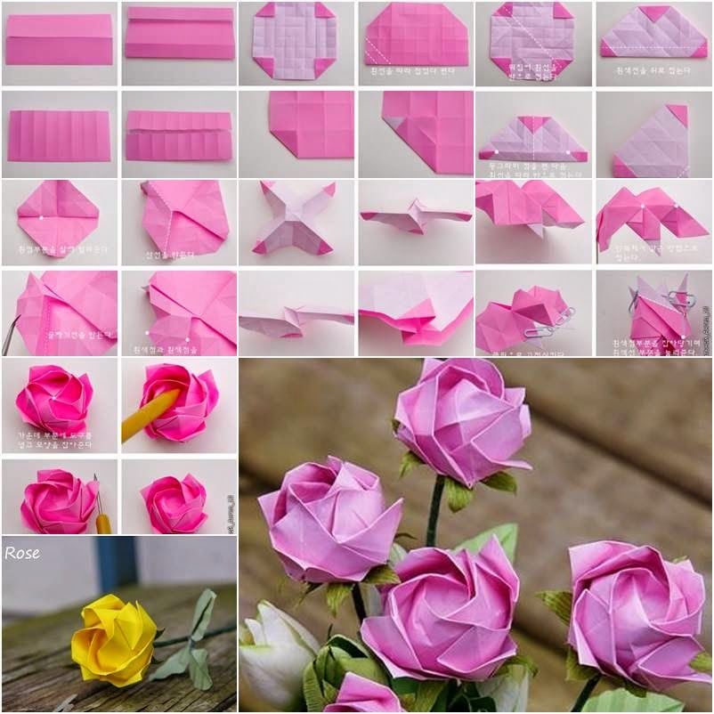 Origami flower rose images coloring pages adult diy craft easy origami rose diagrams origami paper flowers mightylinksfo Choice Image