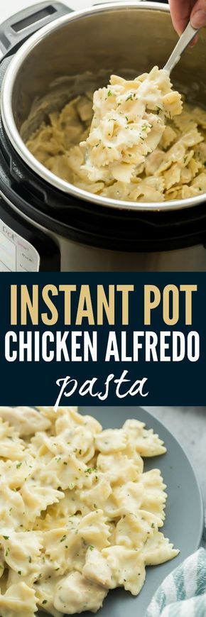 This Instant Pot Chicken Alfredo Pasta is an easy, one pot meal that cooks in record time! It's creamy, comforting and hearty! #chickenalfredo