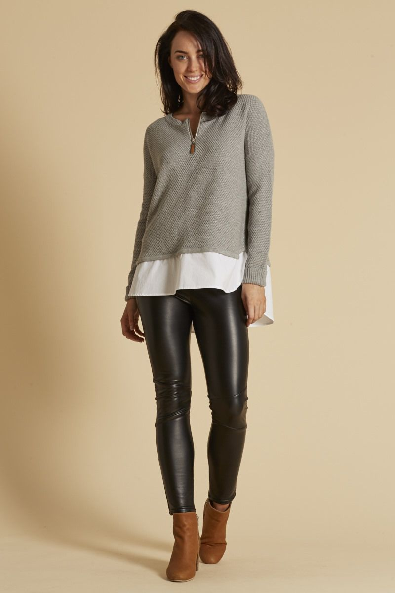 Eb & Ive - Ancelle Zip Knit In 2 Colours