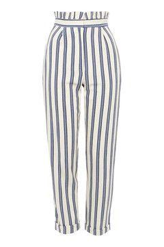 Stripe Ruffle Peg Trousers