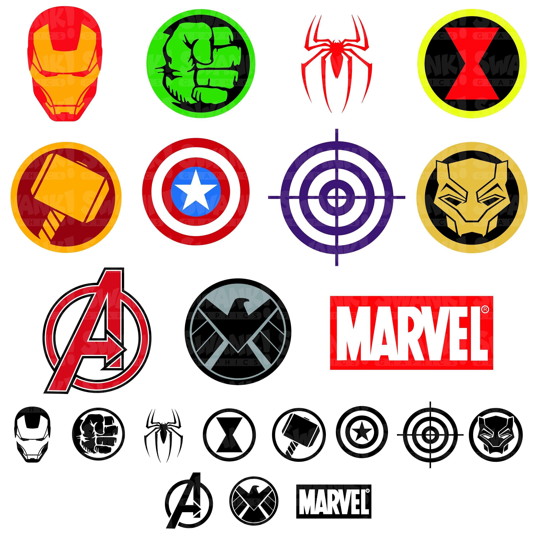 Avengers Superhero Symbol Clipart Svg Png Eps Iron Man Spider Man Captain America Hulk Black Panther Printable Digital Files Avengers Symbols Superhero Symbols Iron Man Symbol