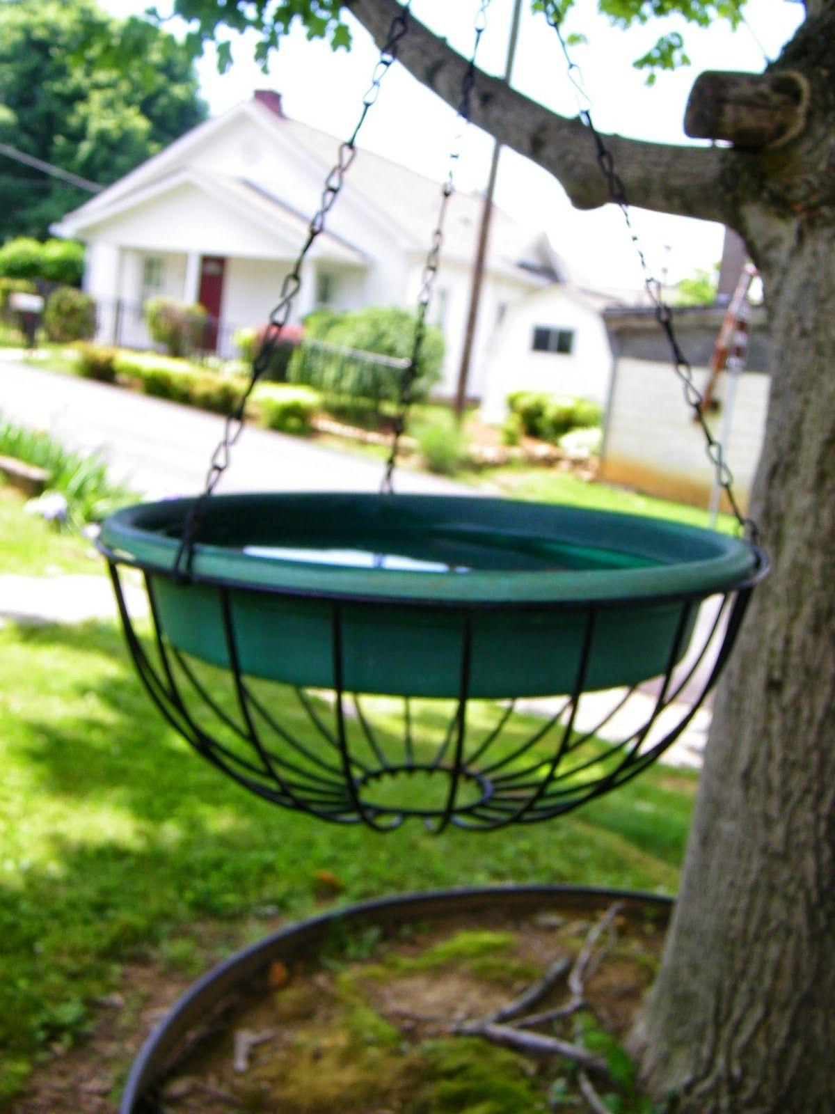 Diy Bird Bath Ideas Tend To Try And Use What I Already Have On Hand When Hanging Bird Bath Diy Bird Bath Bird Bath Garden