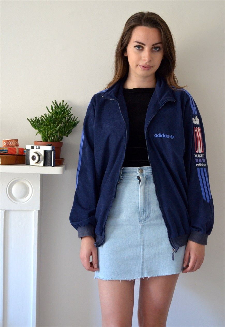 80s Vintage Clothing In The Uk Just Got Easier: 80s Vintage Adidas Velour One World Track Jacket