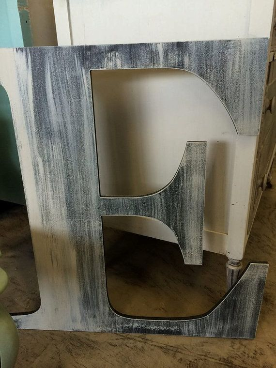 Extra Large Wooden Letter E 30 Slightly By Distressed And Washed In French Gray Asimpleplaceonmain 49 65
